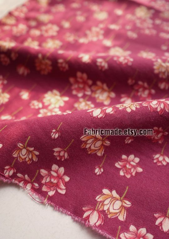 Shabby Chic Floral Cotton Fabric  Rosy Cotton With by fabricmade, $4.80