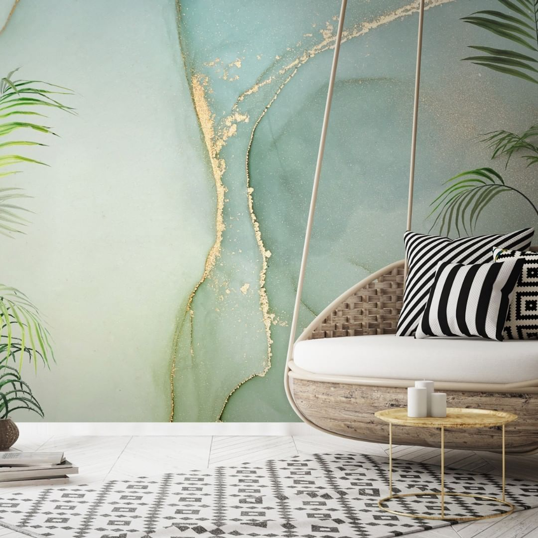 Wallsauce Com On Instagram Cya Monday We Plan On Spending Our Weekend Curled Up In This Totally Zen Room In 2020 Teal Marble Wallpaper Green Marble Teal Wallpaper
