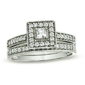 1.70ct  VVS1//D Diamond 10K White Gold Over Cluster Engagement Wedding Band Ring