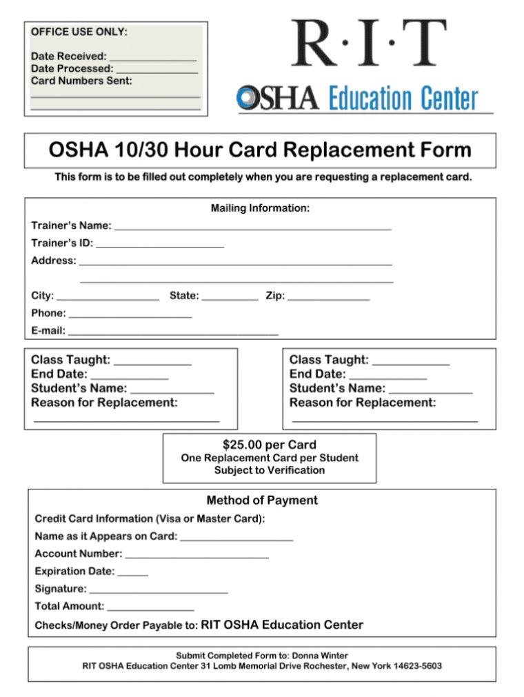 Osha 10 Card Template Card Template Templates Professional Templates