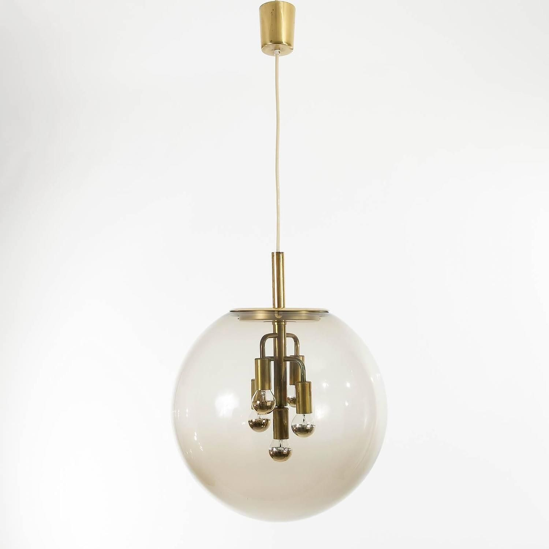 Limburg Pendant Light Brass and Amber Glass Globe 1960s