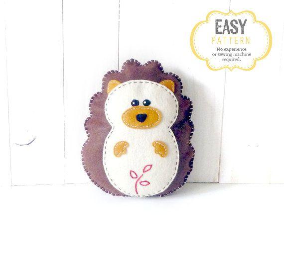 Hedgehog Sewing Pattern, How to Sew Felt Hedgehog Plush Softie ...