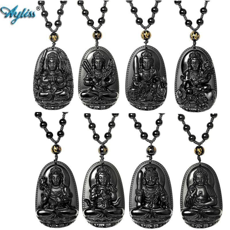 QGEM Semi-Precious Gemstone Bodhisattva Amulet Talisman Pendant Obsidian Crystal Necklace Spiritual Ornaments z8dLyI