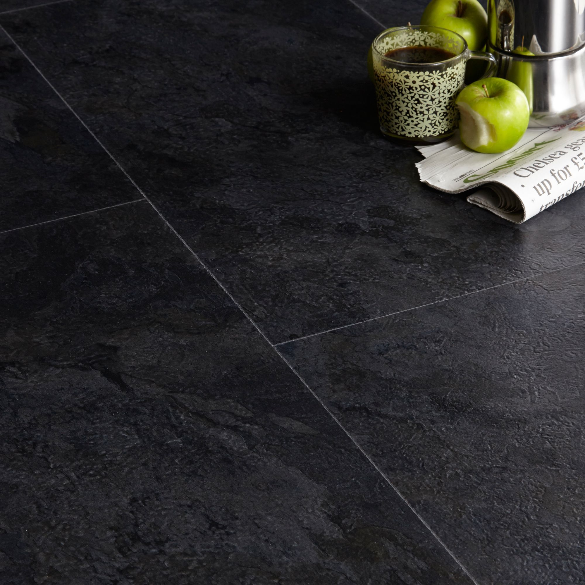 Colours Black Slate Effect Luxury Vinyl Click Flooring 1.49 M² Pack
