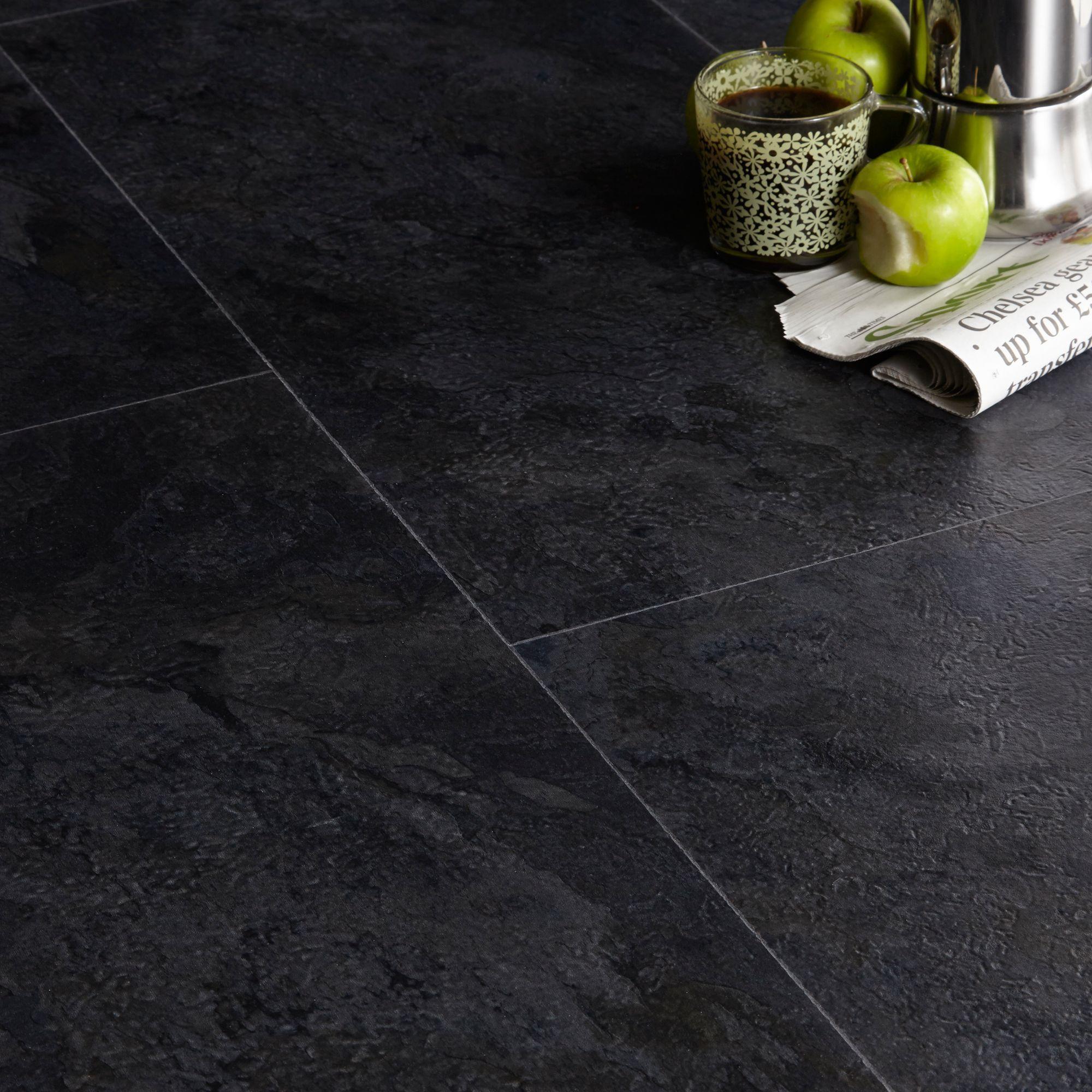 Colours Black Slate Effect Luxury Vinyl Click Tile Flooring 1 49m