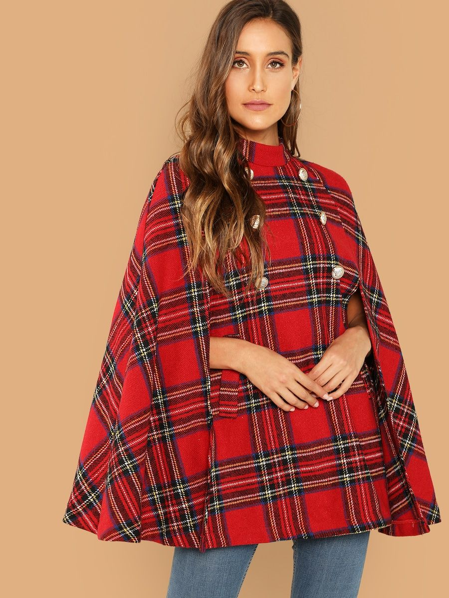 84c1935884 Women's Clothing · CLICK THIS PIN TO SHOP! Double Button Plaid Cape Coat - SheIn(Sheinside)