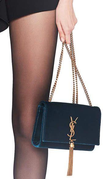 e156a77905e2 Saint Laurent Small Velvet Monogramme Kate Tassel Chain Bag ...