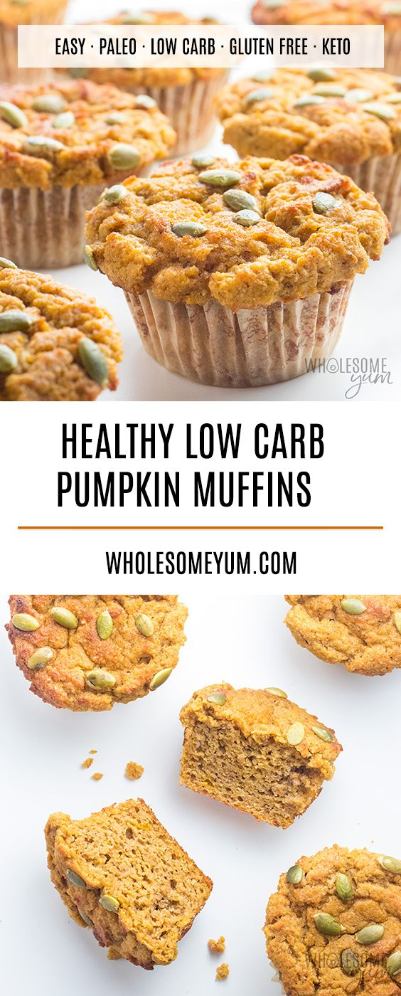 Keto Low Carb Pumpkin Muffins Recipe with Coconut Flour & Almond Flour - This low carb pumpkin muffins recipe with coconut flour and almond flour is super moist and EASY! You can also make these keto pumpkin muffins paleo or nut-free if you'd like. #pumpkinmuffins
