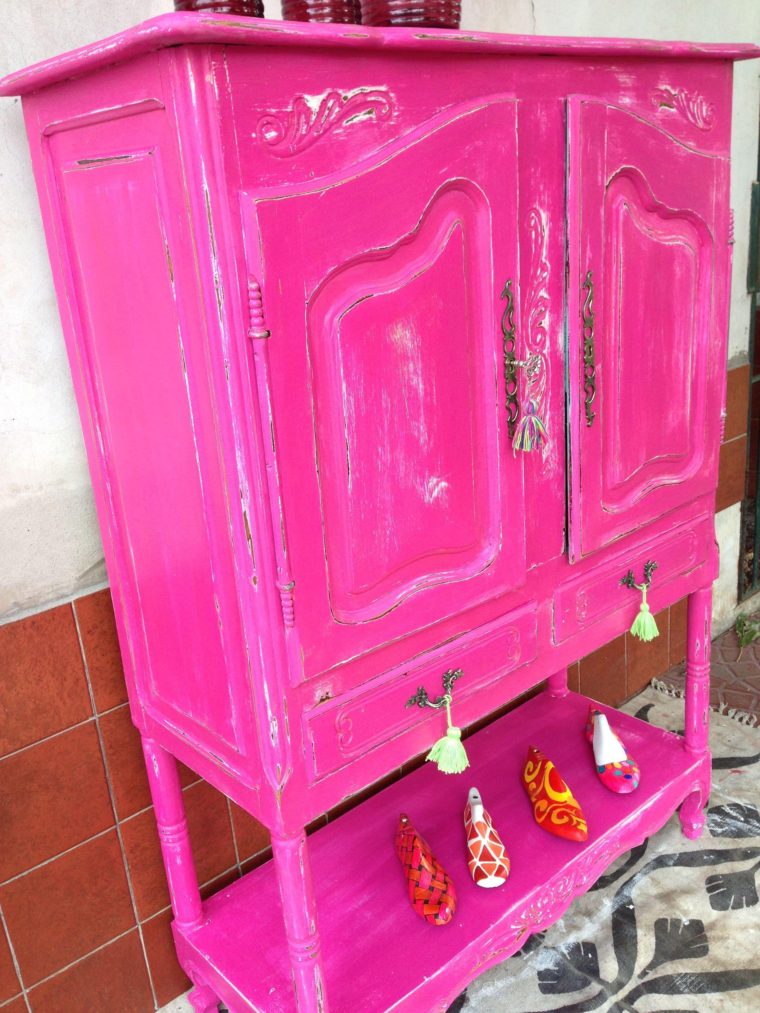 Vajillero Fucsia Provenzal Decapado Pintado Por Vintouch Chalk Paintpainted
