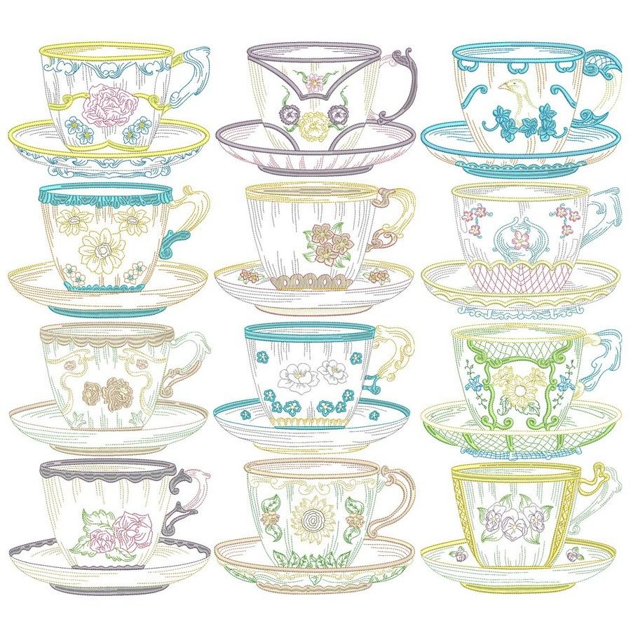 Vintage teacups machine embroidery designs by sew swell vintage teacups machine embroidery designs by sew swell bankloansurffo Gallery