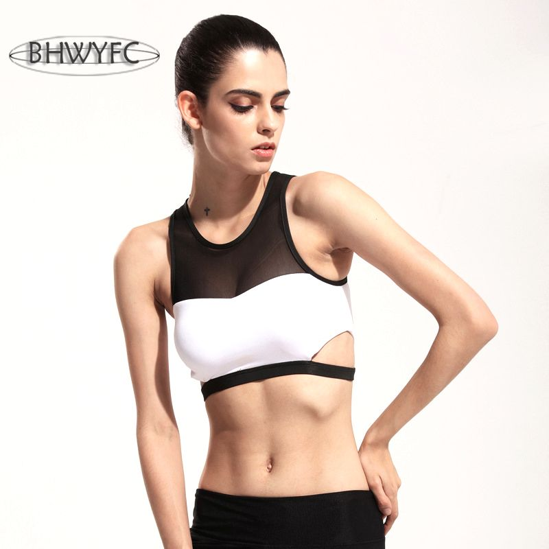 BHWYFC Mesh Splicing Sexy bra women lady Bras Black white sports ... 37f2b3a5e