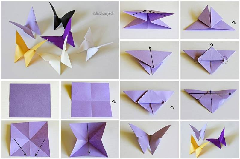 Origami butterfly step by step instructions:
