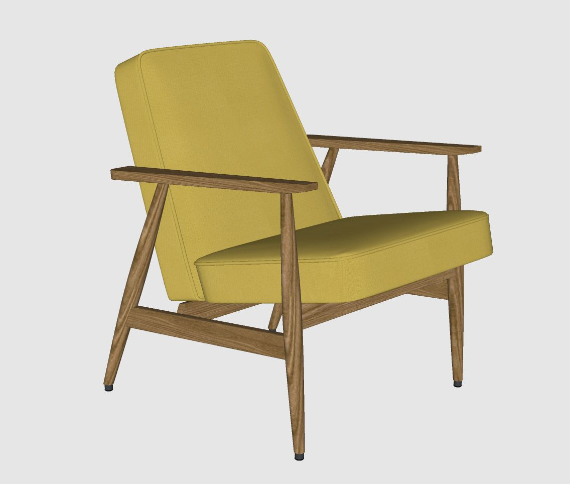 Accent Chair In Sketch Up: Chair, Mid Century Armchair