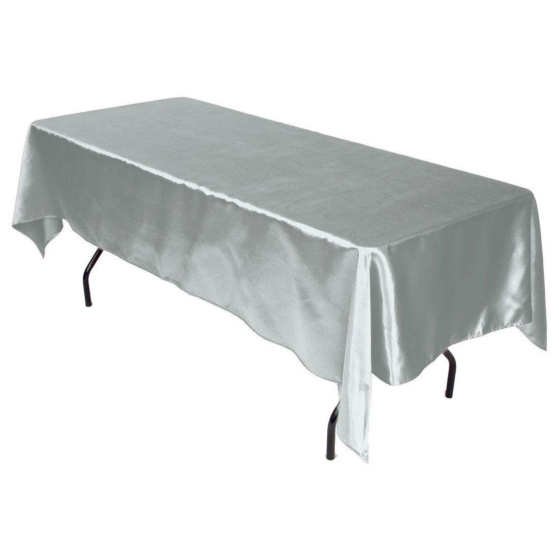Amazon.com   LinenTablecloth 60 X 102 Inch Rectangular Satin Tablecloth  Silver   Silver Table Cloth
