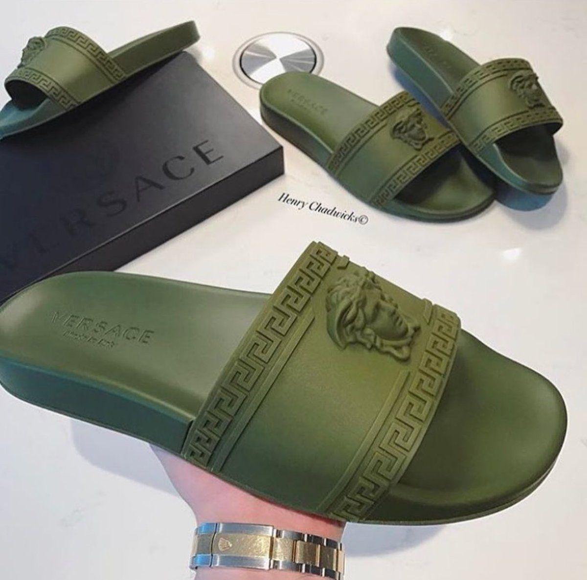 96a69d91d061 Olive Green Versace Slides