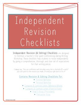 independent revision checklists persuasive essays personal 6 independentrevisionchecklists for upper elementary compare contrast letters fictional narrative personal narrative