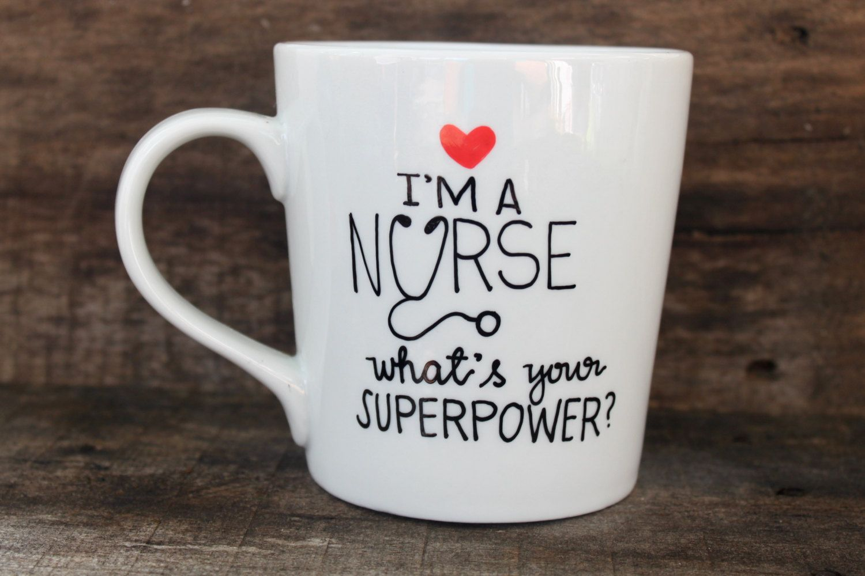Nurse Coffee Mug Ceramic Coffee Mug Handpainted16 oz