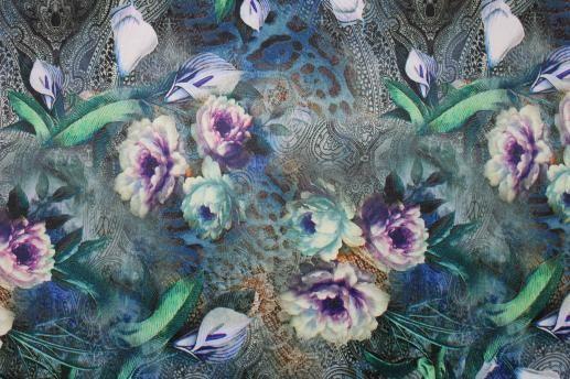 Коттон-атлас цветной, цветы, узоры