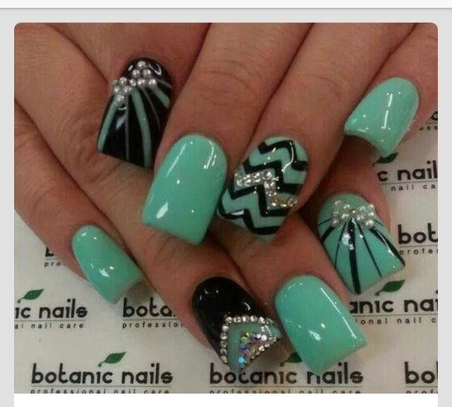 Mint Green Prom Nail: Nails, Nail Art, Nail Design, Black, Turquoise, Teal, Mint