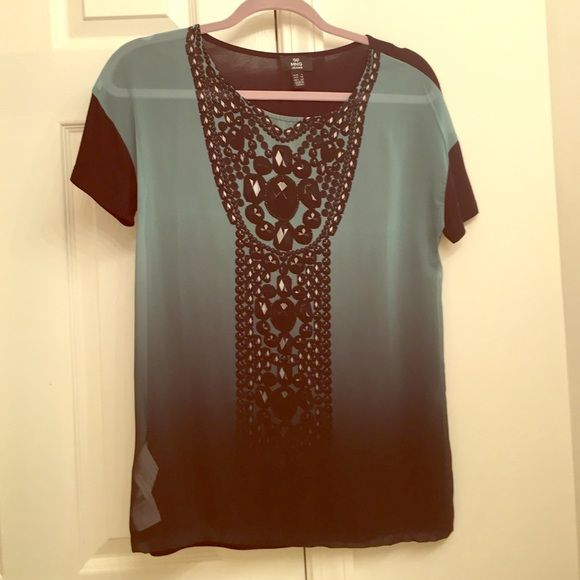 Sheer Tshirt Necklace Detail Size XS  NWOT This is an XS but is more of a looser fit!  Very cute on, sheer front!  Looks great with with black jeans or pleather leggings!  Never worn! Mango Tops Tees - Short Sleeve