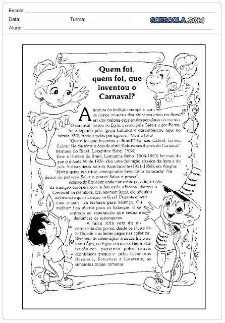 Textos Sobre A Origem Do Carnaval Para Imprimir Atividades Sobre