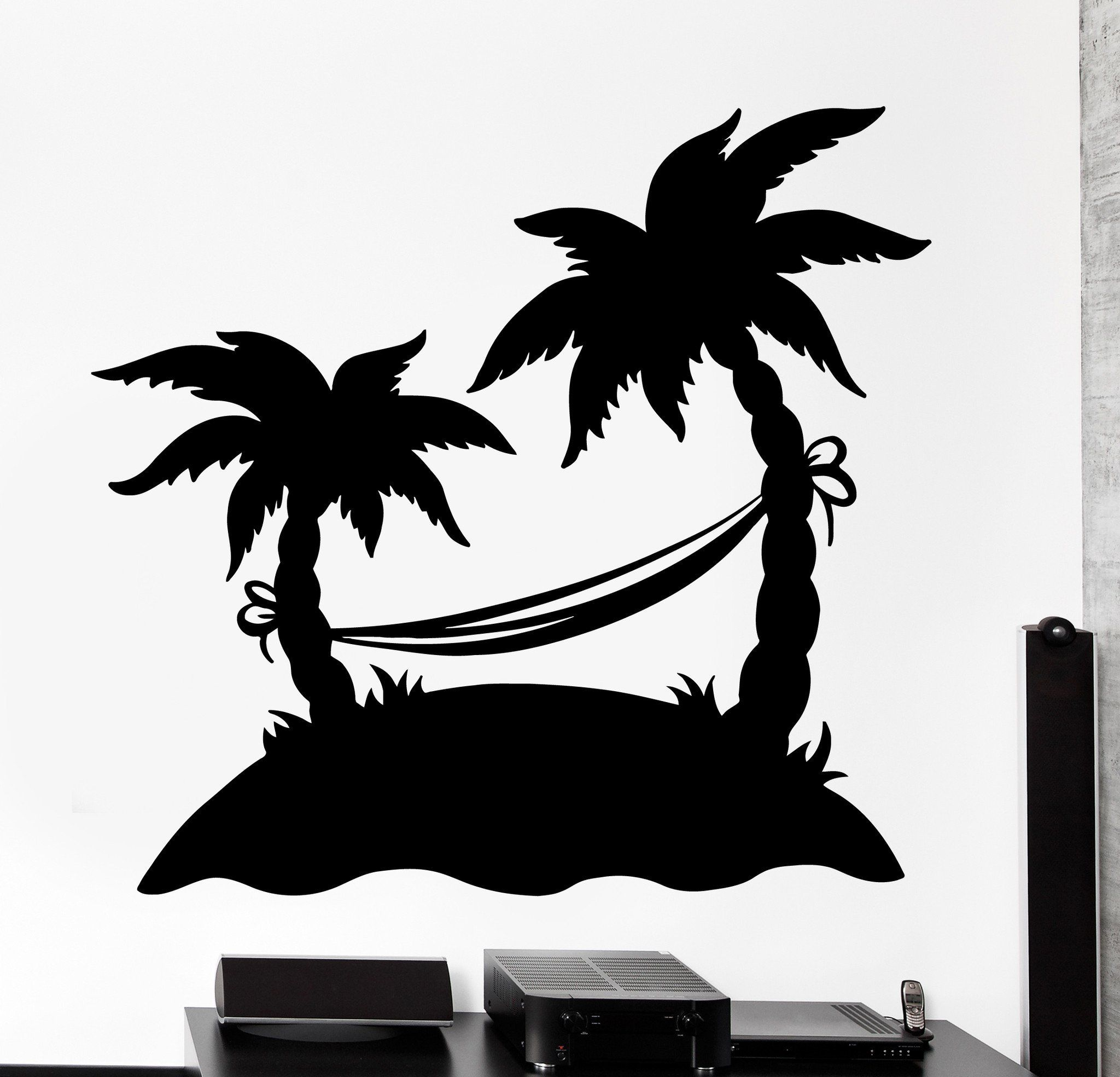 Home Office Urlaubsanspruch Wall Vinyl Decal Palm Beach Island Vacation Hammock Home