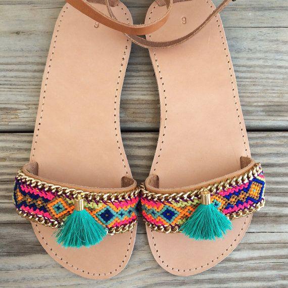 OOAK greek leather sandals with friendshipbracelet in by BonkIbiza