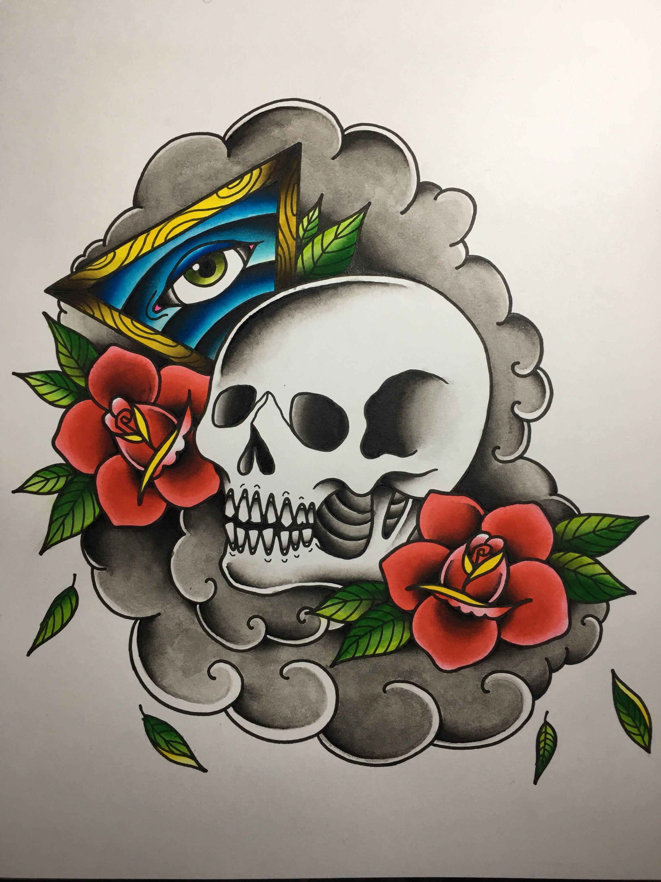 American Traditional Tattoo Skull : american, traditional, tattoo, skull, Skull, American, Traditional, Tattoo, Design, Design,, Tattoo,