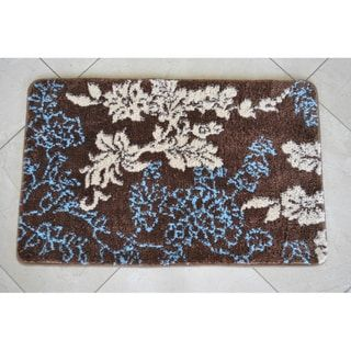 Memory Foam Brown Light Blue Floral X Bath Mat Bathroom - Light blue bath rugs for bathroom decorating ideas