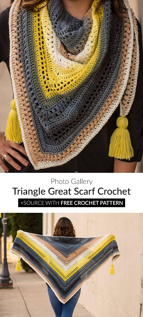 Triangle Great Scarf Crochet | Scarfs and Shawls | Pinterest | Schal ...