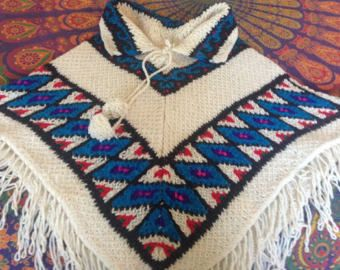 Artisan Crafted Crocheted 100% Wool Poncho with Granny Square