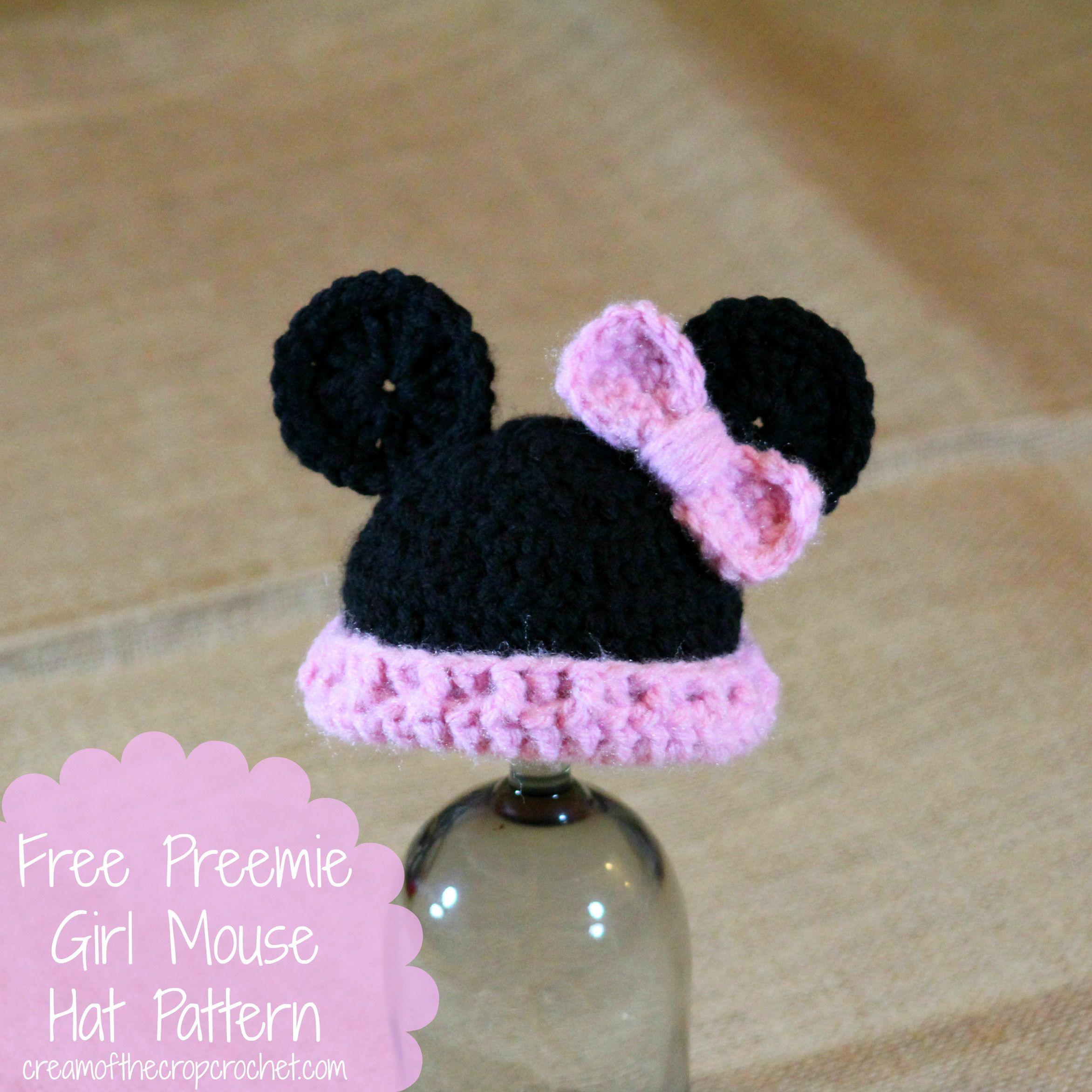 Cream Of The Crop Crochet ~ Preemie Girl Mouse Hat {Free Crochet ...