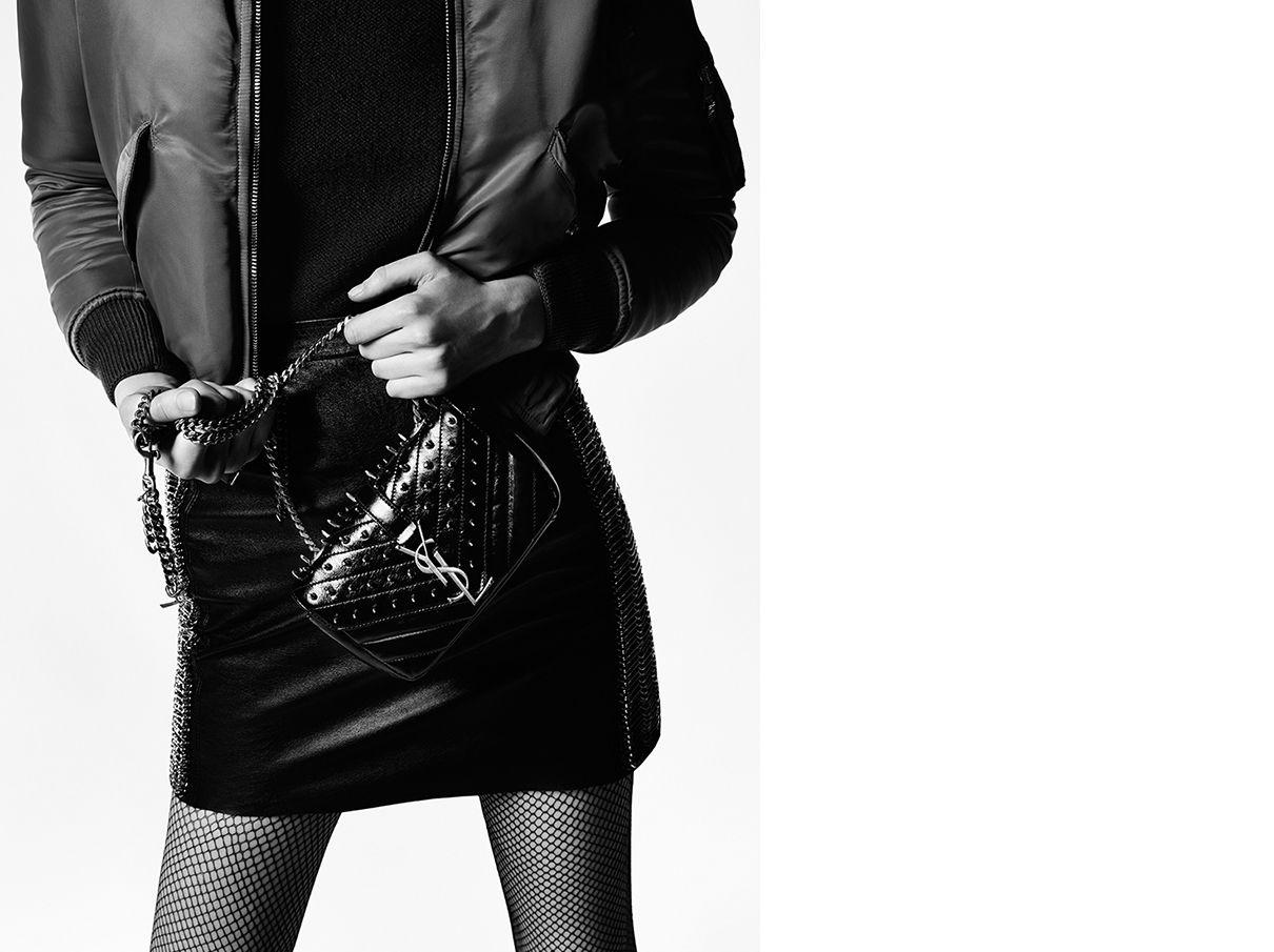 Saint Laurent Classic Baby MONOGRAM SAINT LAURENT Studded Punk Chain Bag In Black  Matelassé Leather  3078c80fa77e5