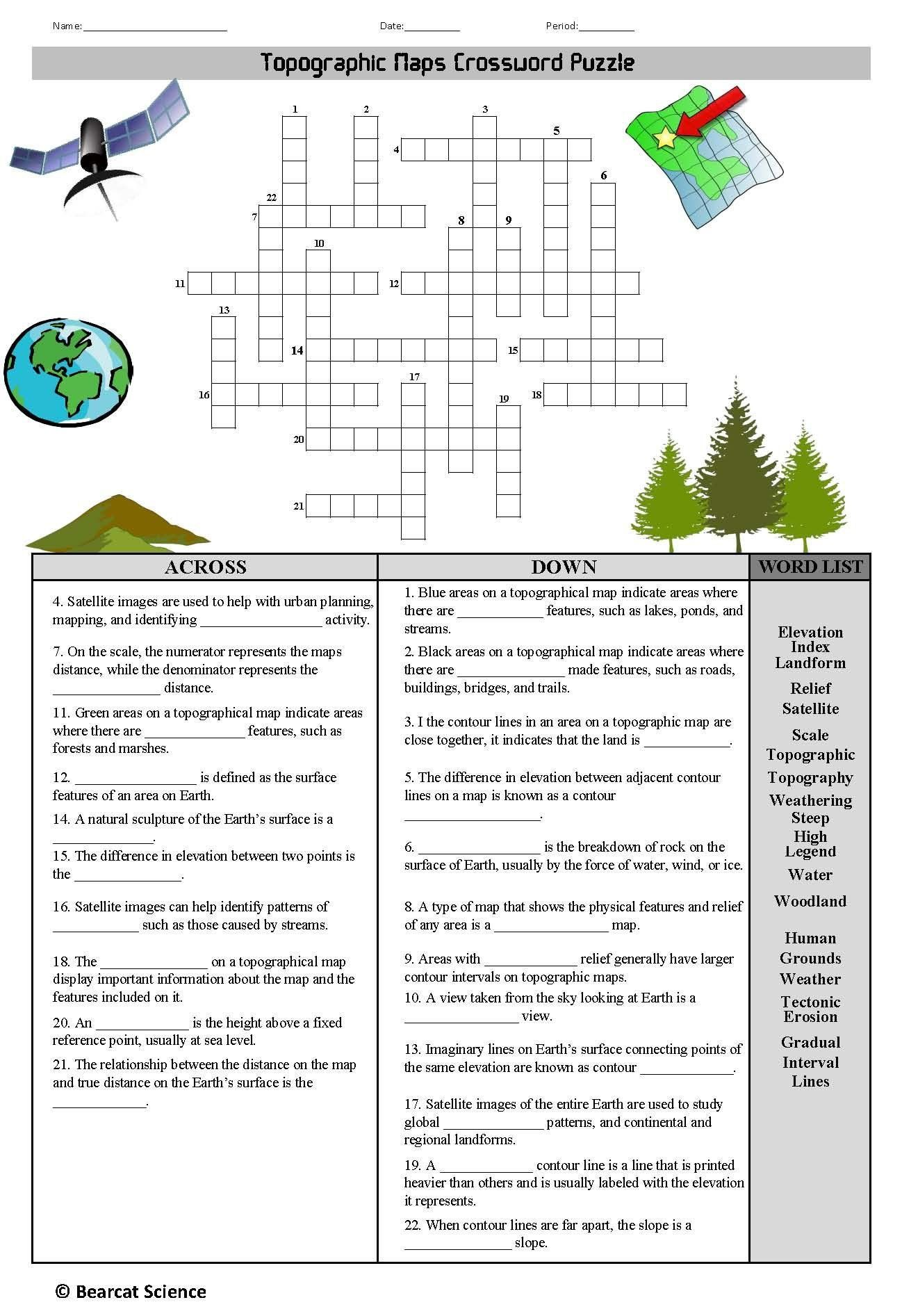 Topographic Map Worksheets Middle School Topographic Maps Crossword In 2020 Map Worksheets Geography Lessons Fact Fluency Worksheets