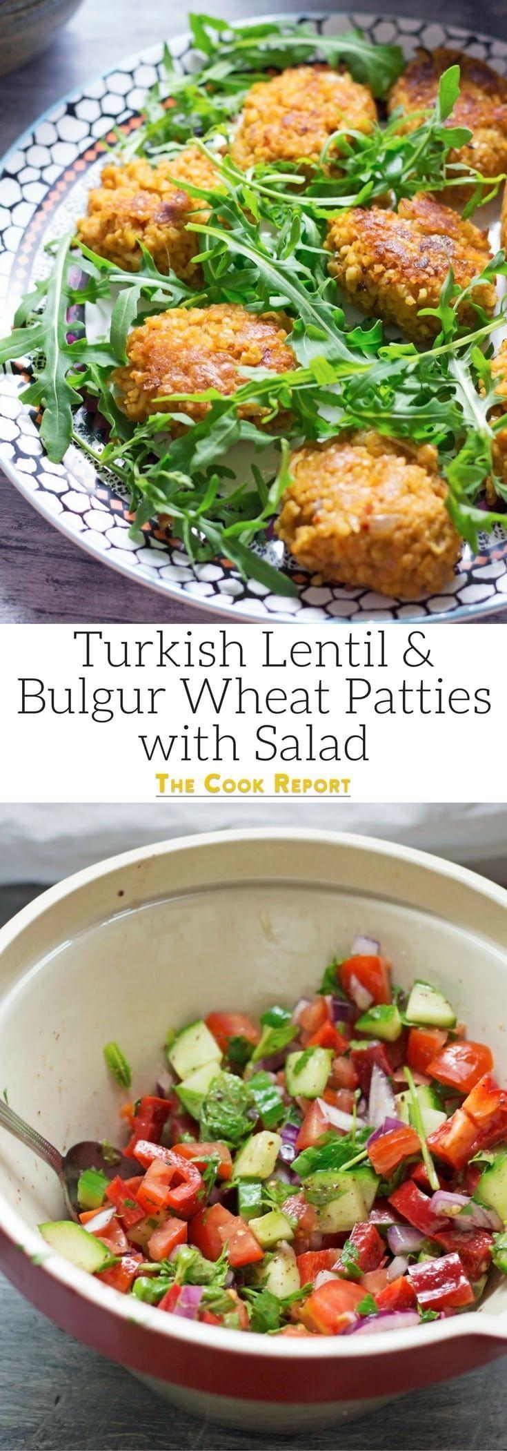 Turkish Lentil and Bulgur Wheat Patties with Salad