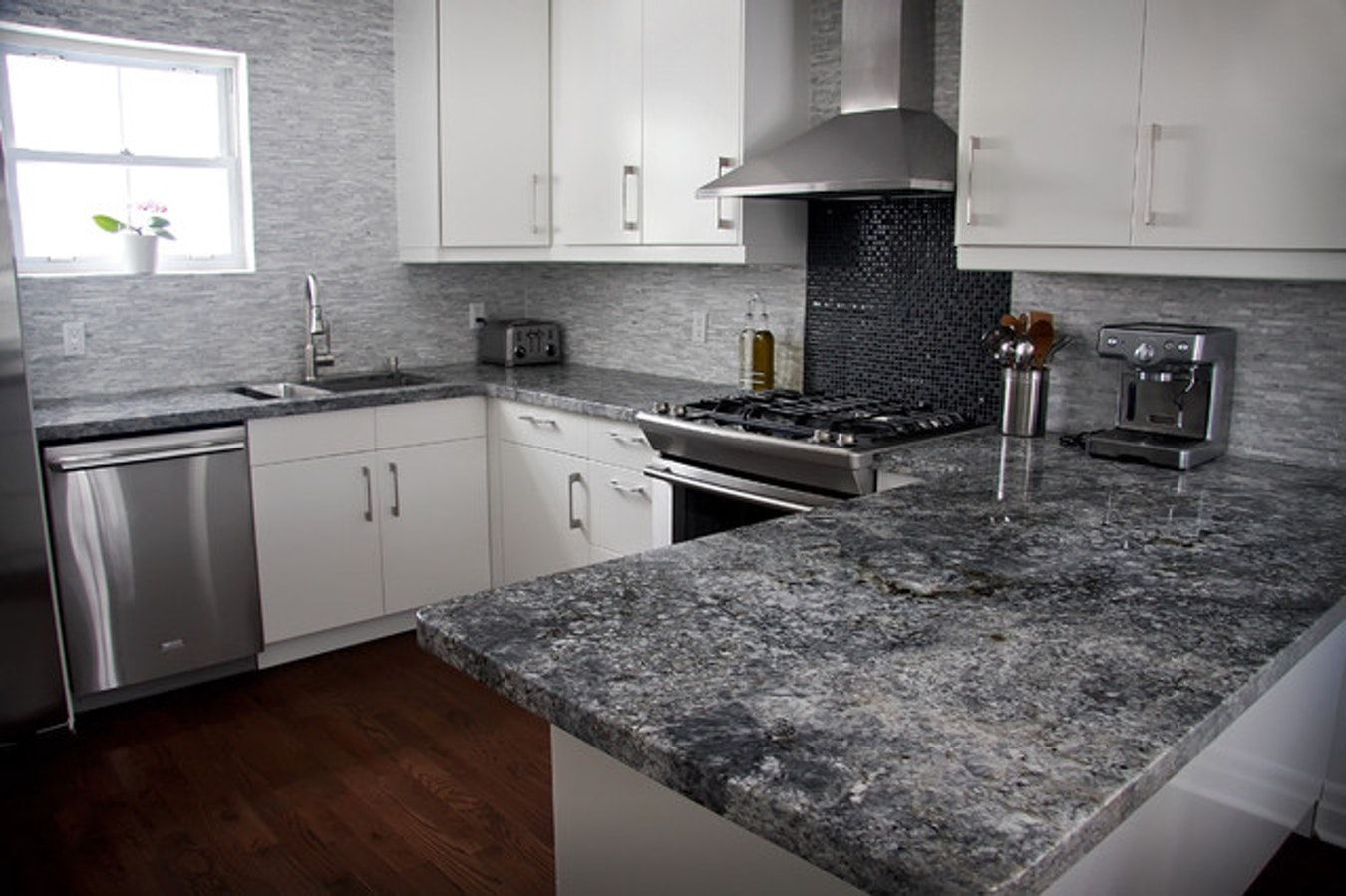 Dark gray quartz countertops contemporary kitchen date