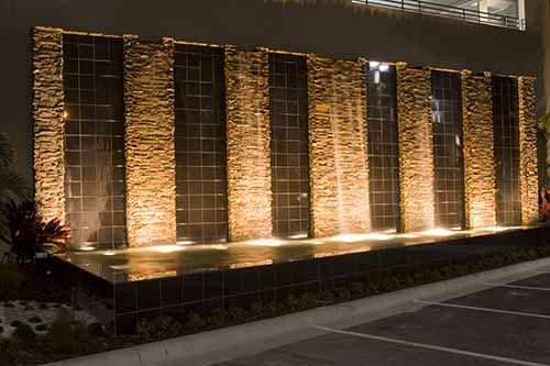 A water wall by Lucas Lagoons at The Westin Hotel in Tampa Florida