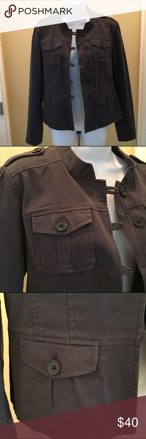 """NWOT Ann Taylor Loft muted blue jacket, size M Cut off the tags and never wore it! Almost a military-style jacket but with feminine touches. Pretty gathering at shoulder seams and at the back waist area. Button front has loop closures.  Unlined. 98% cotton/2% spandex to allow for """"give"""" when moving. Has a nice soft feel. Size M from Ann Taylor Loft. Ann Taylor Loft Jackets & Coats Blazers"""