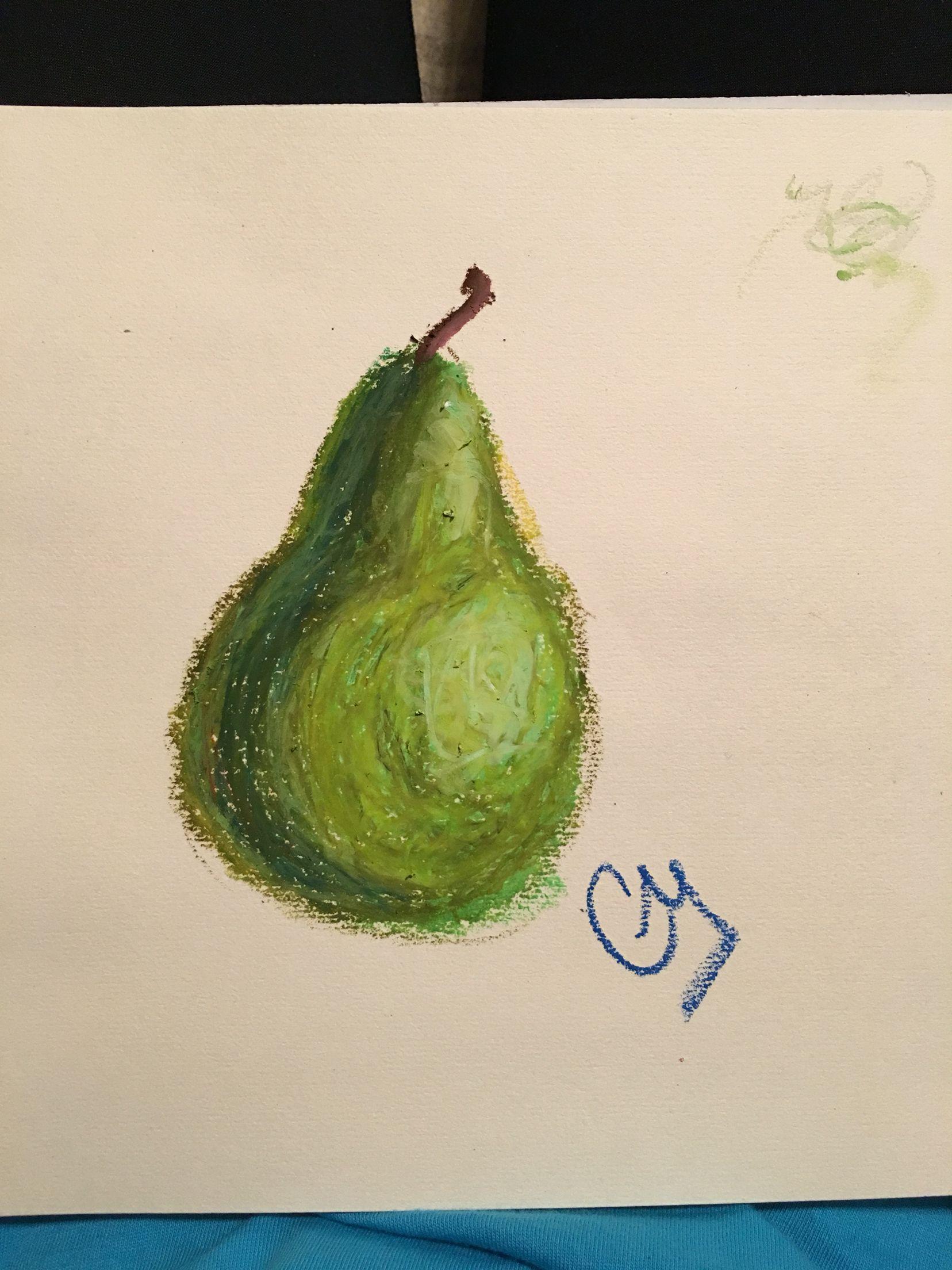 Oil Pastel Pear Easy Five Minute Little Ordeal