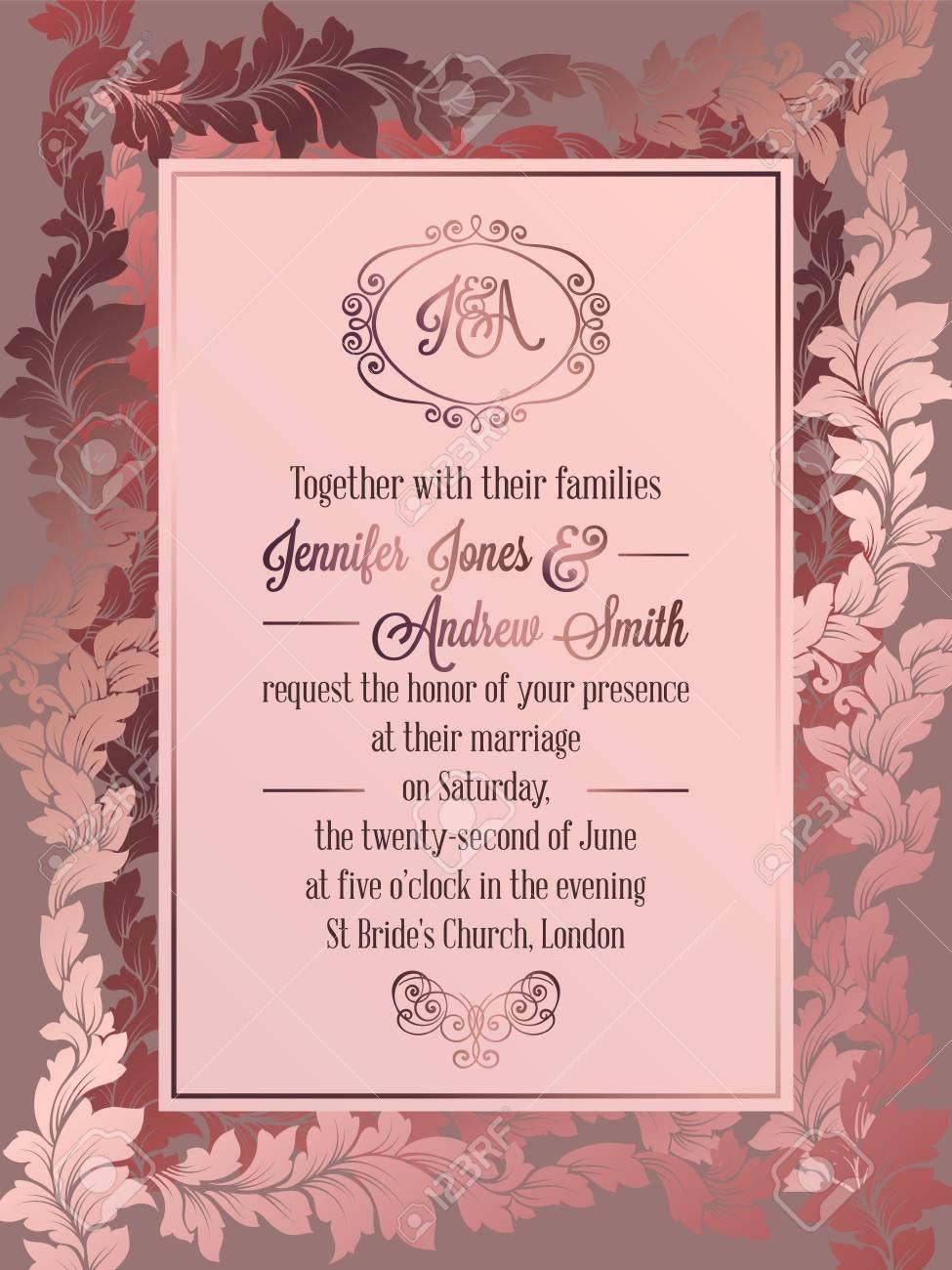Vintage Baroque Style Wedding Invitation Card Template Elegant With Ch Wedding Invitation Card Template Wedding Invitation Card Design Pink Wedding Invitations