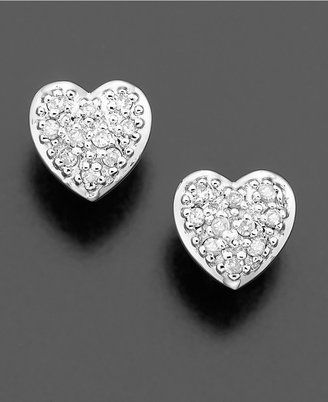 Macy's Diamond Earrings, 14k White Gold Diamond Heart Studs (1/10 ct. t.w.)