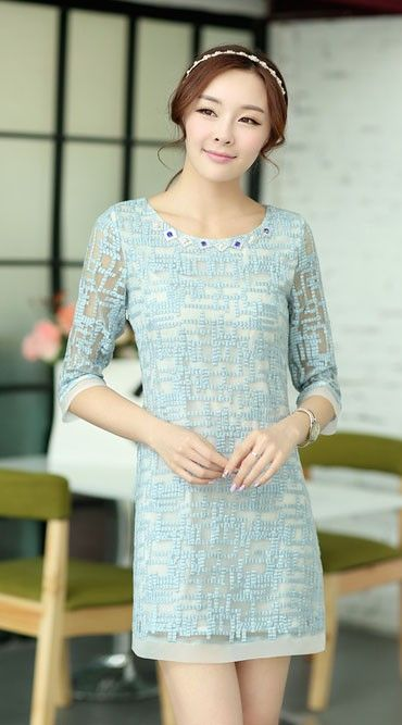 http://byi.hk/0303 Charming gemstone round neck organza dress features irregular squares pattern with translucent design. Enhance your charming look with this special dress. @ beyifashion