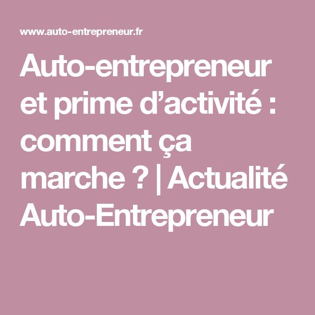 demande de prime d activité auto entrepreneur
