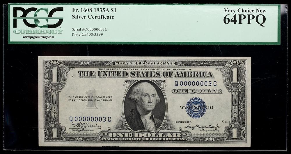 1935 A 1 Silver Certificate Serial Number 3 Pcgs Very Choice New