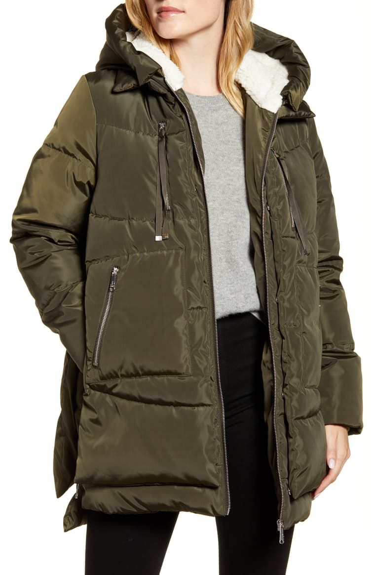 Sam Edelman Faux Shearling Lined Puffer Coat Nordstrom Puffer Coat Puffer Shiny Jacket