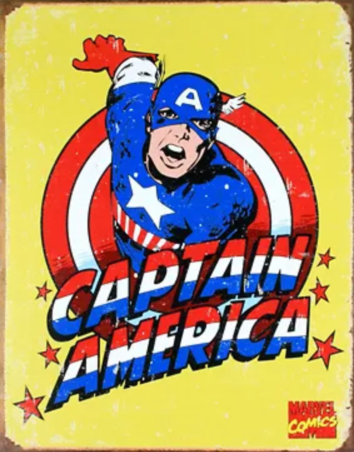 Comic Cover Captain America Retro Vintage Metal Wall Sign