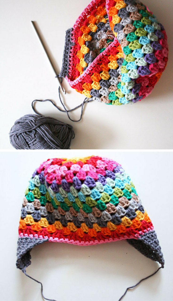 Free Crochet Pattern Adorable Granny Square Stitch Rainbow Beanie