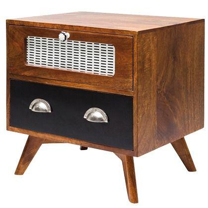 Der Nachttisch kommt im Design einer Retro Musikbox daher und ...