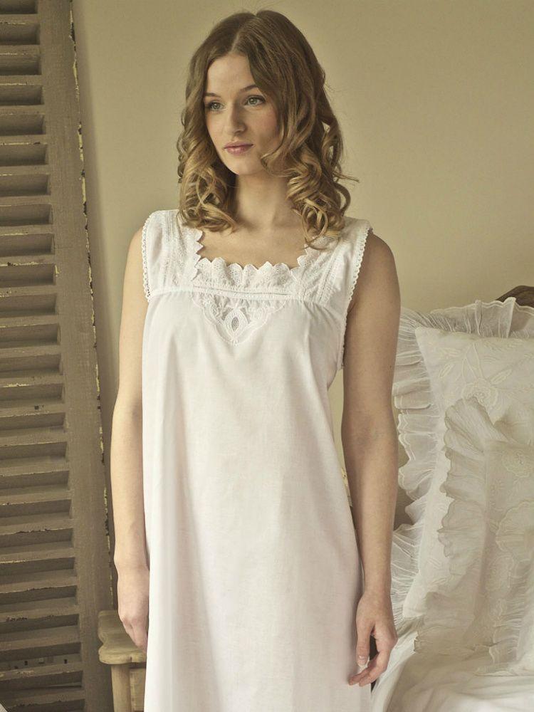 Ladies Nightdress 100/% Cotton Chemise Womens Nightwear
