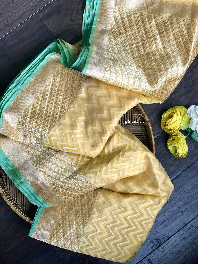 Silk Cotton Jamdaani Kora Banarasi - Yellow Zari woven #indiandesignerwear
